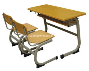 Wood Double Classroom School Student Chair and Desk (7603) pictures & photos