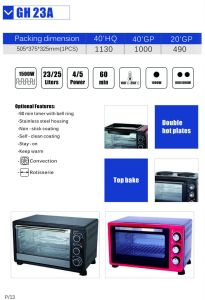 Stainless Steel Handle Home Appliance of Electric Oven with 23 Litres (GH23)