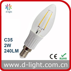 High Lumen Ultra Bright 2W 240lm LED Filament Candle Light