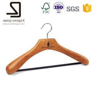 Deluxe Wooden Hanger, Brown Clothes Hanger with Bar pictures & photos