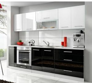 Stainless Steel Apartment MDF Lacquer Kitchen Cabinet (ZHUV) pictures & photos