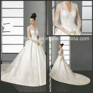 Full Sleeves Kate Wedding Dress V-Neck Lace Sleeves Bridal Wedding Gown W15243 pictures & photos
