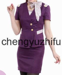 Purple Air Hostess Uniform in Airline (A018)