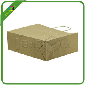 Brown/Kraft Paper Bag with Handle for Cloth Wholesale Packing pictures & photos