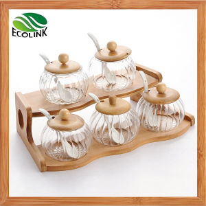 5 Pieces Glass Seasoning Pot Set with Bamboo Rack pictures & photos