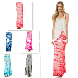 Fashion Tye Die Maxi Skirt for Women (HGS1766)