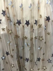Shinny Star Print Chiffon Fabric for Girls Dress pictures & photos