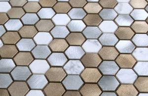 2017 Small Hexagon Metal Mosaic for Kitchen pictures & photos