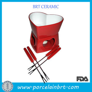 Valentines Ceramic Red Heart Fondue Burner pictures & photos