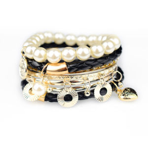 Pearl and Stone Handmade Fashion Bleather Bracelet