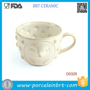 White Cover with Cute Face and Little Dots Ceramic Cup pictures & photos