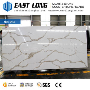 High Grade Calacatta Quartz Stone Slabs for Kitchen Design/Wall Panel/Countertops with Polished Solid Surface pictures & photos