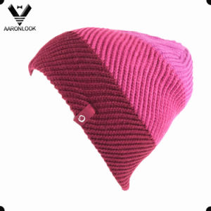Lady′s Fashionable Acrylic Twill Pattern Wave Knit Hat