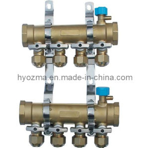 4-Branch Brass Manifold Set for Floor Heating System