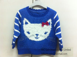 Kid′s Knitted Sweater - Girls Intarsia Cat Jumper pictures & photos