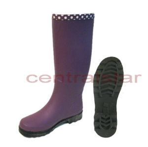 Fashion Knee High Women2s Purple Rubber Rain Boots (LRB029