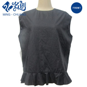 Black Sleeveless Roundcollar Loose Summer Leisure Blouse with Flared Hem pictures & photos