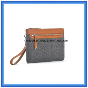Young Design Customized Wool Felt Briefcase Bag, Hot Promotion Cosmetic Hand Bag with PU Leather Handle pictures & photos