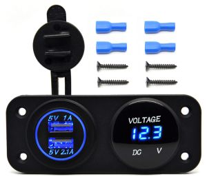 Dual USB 3.1A Charger Adapter and LED Voltmeter Panel Waterproof 12V-24V for Motorcycle Car Boat Marine Carvan pictures & photos