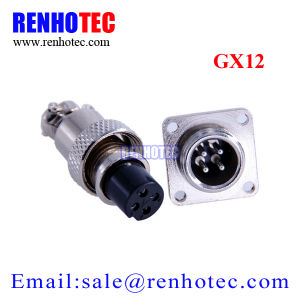 Gx12 4 Pin Aviation Connector Circular Electronic Connector with 4 Hole Flange pictures & photos