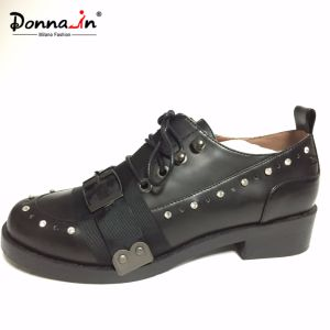 Lady Fashion Rhinestone Lace-up Women Buckle Strap Casual Flat Footwear pictures & photos