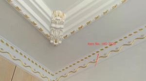 Golden Outline 10cm Tall PU Cornice Moulding for Interior Ceiling Decoration pictures & photos