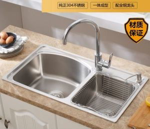 Double Tank with Faucet Stainless Steel Kitchen pictures & photos