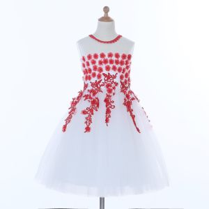 White/Red Flower Girl Dress for Wedding and Ceremonial pictures & photos
