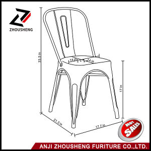 Sheetmetal Frame Patio Dining Metal Chair in Galvanized with Back Zs-T-01 pictures & photos