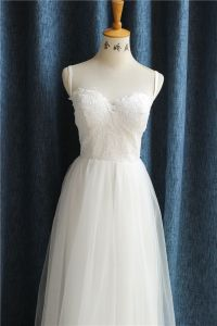 Casual Double Spaghetti Straps A-Line Outdoor Wedding Dress Full Length pictures & photos
