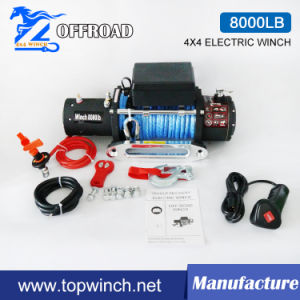 SUV 4X4 12V/24VDC Waterproof Synthetic Rope Winch Electric Winch (8000lbs-1) pictures & photos
