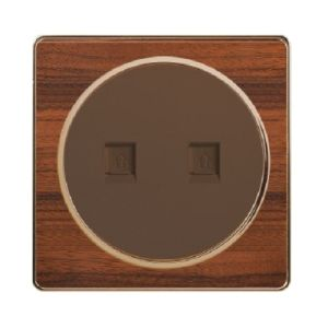 British Standard Wood-Textured Double Telephone/Double Internet/ Telephone+Internet Socket pictures & photos
