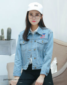 OEM Lady Light Blue Denim Jacket with Embroidered pictures & photos
