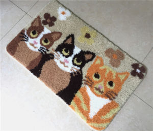 Anti-Slip Polyester Computer Embroidery Cat Bathroom Door Bath Mat pictures & photos