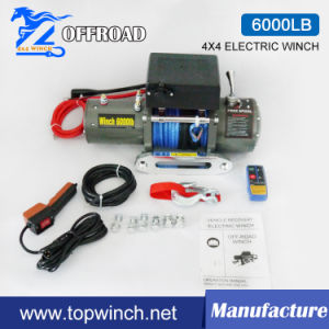 4X4 Electric Recovery Winch Synthetic Rope Winch 6000lbs pictures & photos