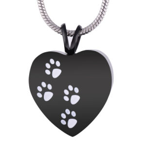 Cremation Jewelry 316L Stainless Steel Paw Print Heart Keepsake Ash Pendant Black Plating Pet Urn Keepsake Necklace pictures & photos