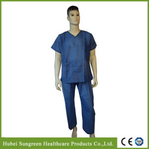 Dark Blue SMS Scrub Suit, Neck with Black Binding pictures & photos