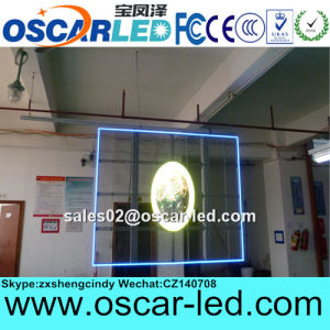 High Brightness Indoor Transparent Glass LED Ad Display Screen for Shop