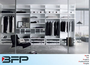 White Matt Lacquer Bedroom Closet with Glass Door pictures & photos