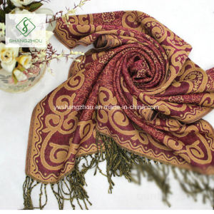 National Style Spun Gold Jacquard Shawl Lady Fashion Scarf pictures & photos
