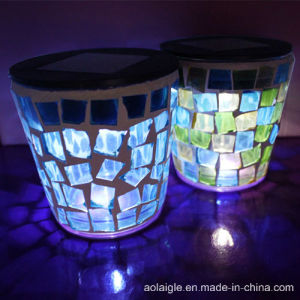 Solar Lights with Mostic Glass Candle Covered Lamps