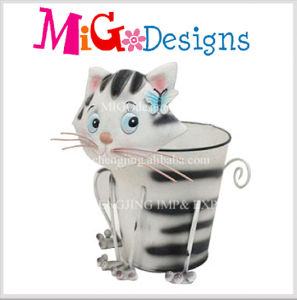 Lovely Cat Animal Garden Pot Metal Decoration Planter pictures & photos