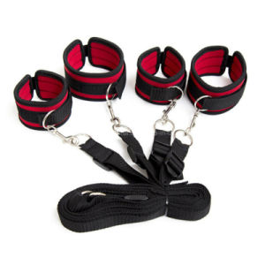 Red Under The Bed Restraint System Bondage Kit with Straps and Cuffs, Fetish Sex Game Toys pictures & photos