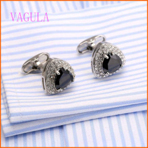 VAGULA Blue Hifh Quality AAA Zirzon Brass Rhodium Plated Cufflink pictures & photos
