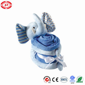Blue Plush Elephant Animal Soft Baby Blanket Gift Set pictures & photos