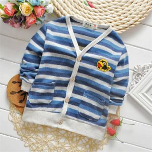 T1157 2015 Newest Boys Cotton Striped Anti-Pilling Lovely Long Sleeve Button Cardigan Boy Coat for Wholesale pictures & photos
