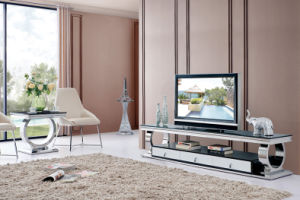 Stylish Modern Stainless Steel Black Glass Top TV Cabinet pictures & photos