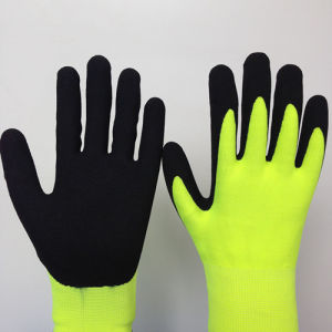 2 Layers Gloves with Sandy Nitrile Coating