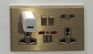 New Arrival 2 Gang 13AMP Switch Socket with Dual USB pictures & photos