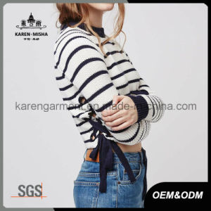 Ladies Side Tie Striped Jumper Fashion Clothes pictures & photos